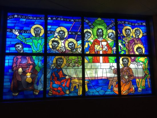 St. Brendan Catholic Church: Stain glass window to the left of the Altar.
