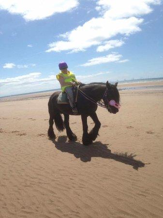 Murthwaite Green Trekking Centre Day Rides: 87yr old Janet enjoying a beach ride - age is no barrier