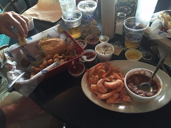 Shrimp Basket: All you can eat shrimp, red beans and rice, and over-stuffed crawish po'boy