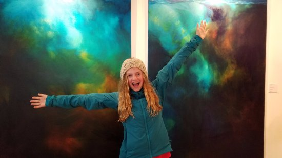 The Carol Cronin Gallery: My daughter posing in front of two of Carol's paintings!