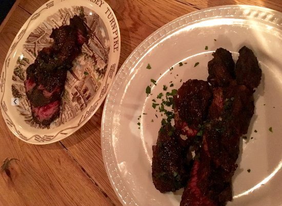 Butchers Steak (hanger steak with garlic butter) Sorry, the photo is a ...