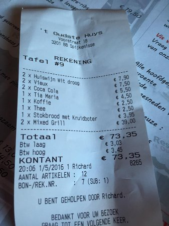Spijkenisse, هولندا: rekening