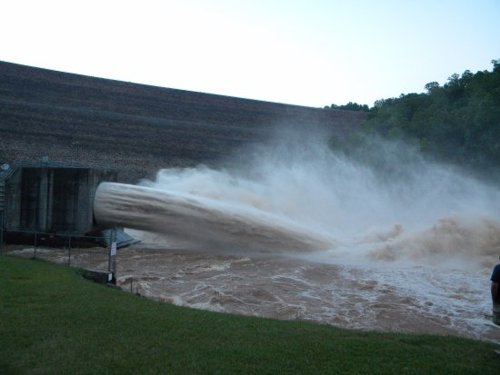 Summersville Dam: At the base of the dam