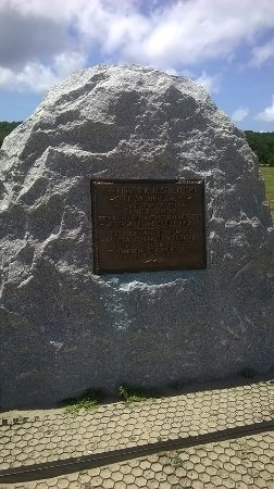 Wright Brothers National Memorial: Marker showing where the first flight took off from