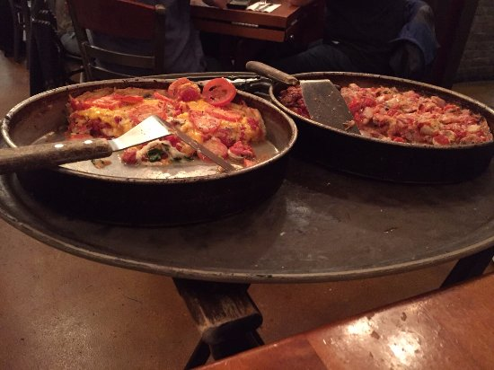 """Lou Malnati's Pizzeria - South Loop : """"The Lou"""" on the left, and """"The Malnati"""" on the right"""