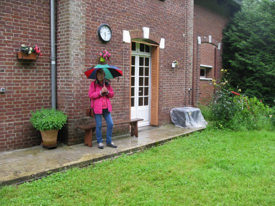 Bernafay Wood: Anna outside 'soldiers rest' room