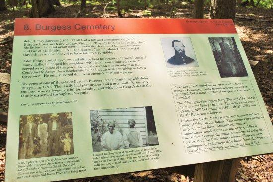 Ridgeway, VA: Burgess Cemetery Placard