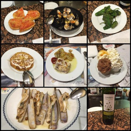 Cal Pep: pa amb tomaquet, cockles, padron peppers, tortillas, fish with potatoes, creme catalan, razor cl