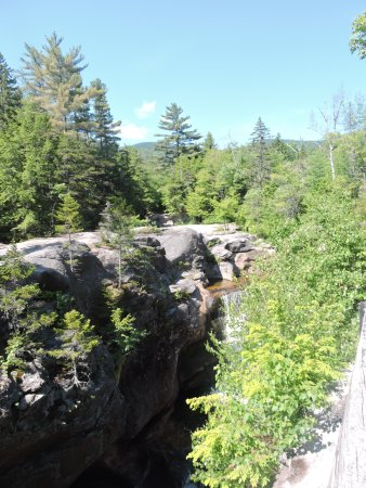 Bethel, ME: View of Screw Auger Falls from behind the safety rail.
