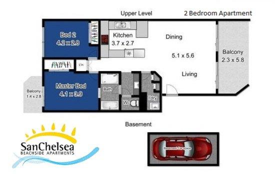 Bilinga, Australia: 2 Bedroom Unit Floor Plan