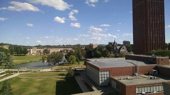 Hotel UMass: View of campus pond, Old Chapel and Tower Library