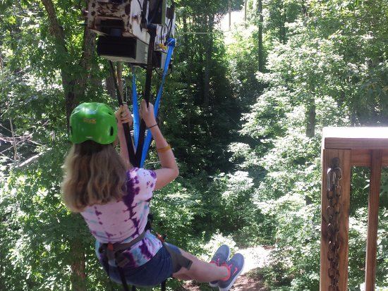 Loco Ropes: Going off the zip line platform