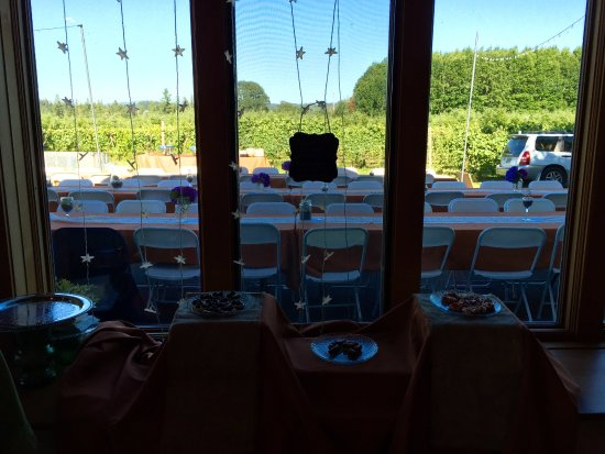 Molalla, Όρεγκον: indoor wine tasting with the outdoor view