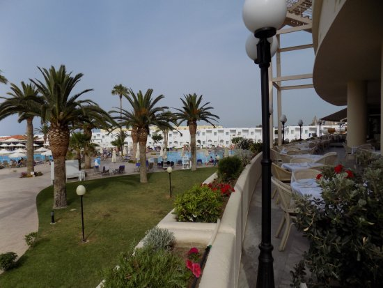 Louis Creta Princess Beach Hotel: The view from terrace looking onto bungalows and gardens.