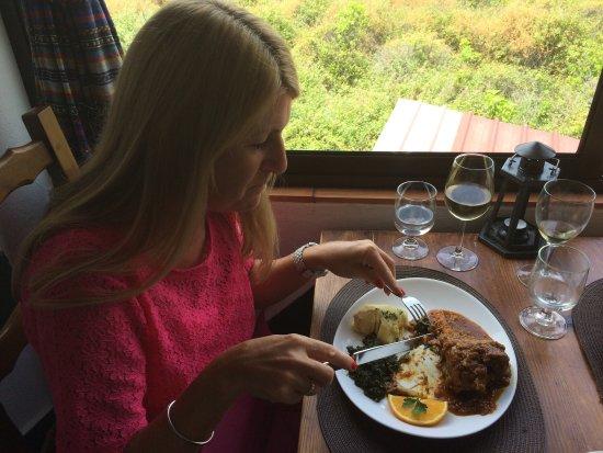 Mexilhoeira Grande, Portugal: Regular visitors to Solar do Farelo.  Enjoying the Lamb Shank and Lamb Cutlets.