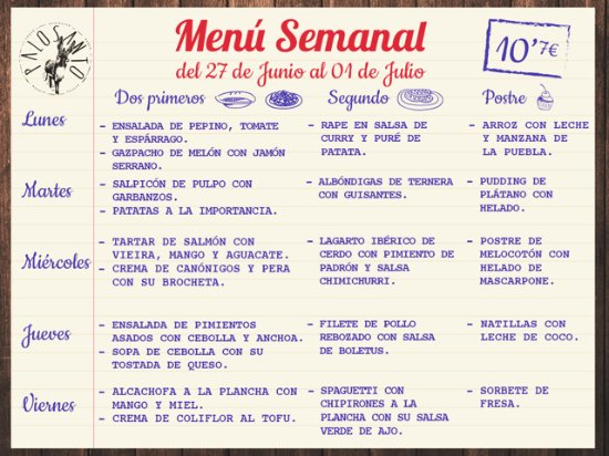 menú semanal picture of palosanto madrid tripadvisor