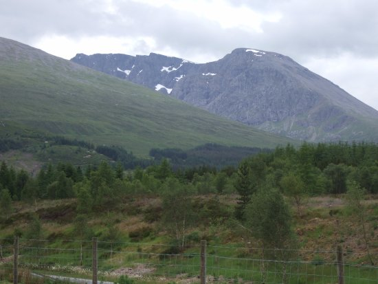 Lochaber Farm Shop Crafts and Cafe: North face of Ben Nevis from the car park