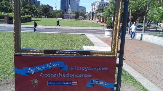 The Constitutional Walking Tour of Philadelphia: Independence Hall view from National Constitution Center
