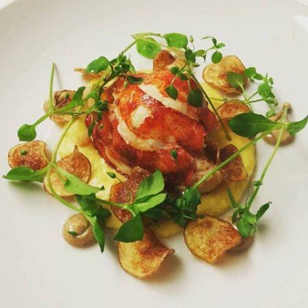 The Reluctant Chef: Newfoundland Lobster on corn puree with black garlic aioli, house potato chips, local chickweed