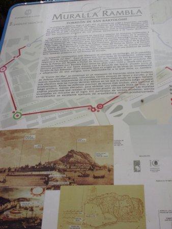 Map and description of old walls around Alicante Picture of Rambla
