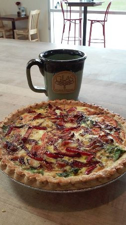 Shawano, WI: Homemade quiche and coffee for breakfast.