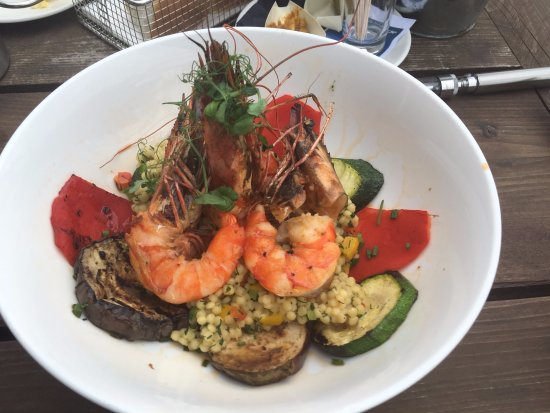 Gambas, couscous and grilled vegetables