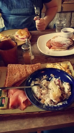Cafe Renoir: Swedish breakfast with muesli - eggs benedict - pancakes and maple syrup