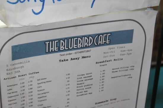 The Bluebird Cafe Edinburgh Menu