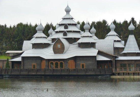 The Izba : Restaurant Izba de Pairi Daiza Brugelette Belgium, Russian Wooden House at the Laguna of Pairi D
