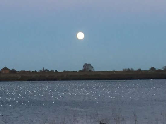 Burntwood, UK: Moon rise over Chasewater