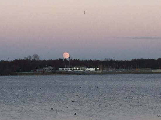Burntwood, UK: Moon rising over Chasewater