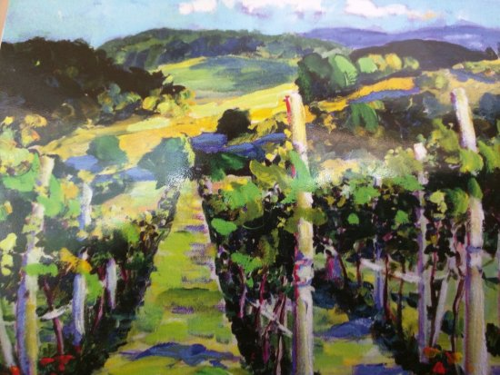 Chateau Fontaine: Postcard of painting in the vineyard
