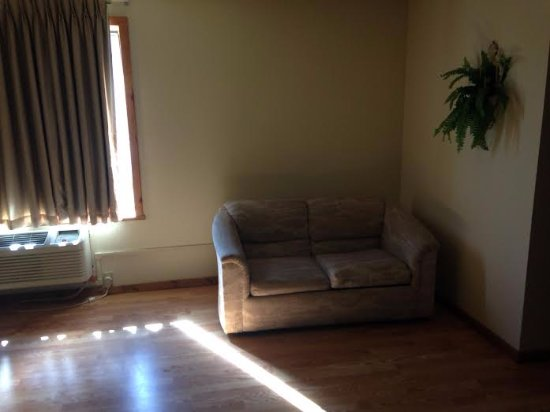 Mt. Olympus Resort: Small couch and AC unit