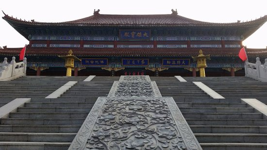 Longkou, China: Building inside the temple grounds