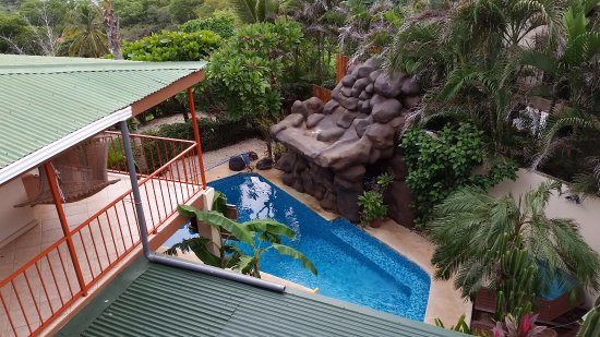 Casa Bambora: View from roof top. Room B2 has the orange wrap around deck on 3 sides
