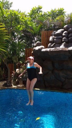 Casa Bambora: Jumping off the waterfall into the pool (just had to do it)