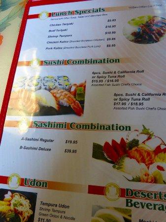 Little Tokyo: Menu lunch specials