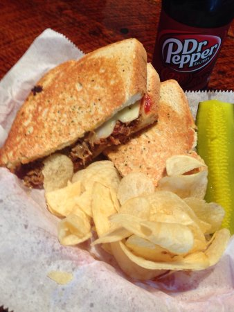 Henryetta, OK: The pulled pork BBQ Melt on sour dough with pepper jack cheese