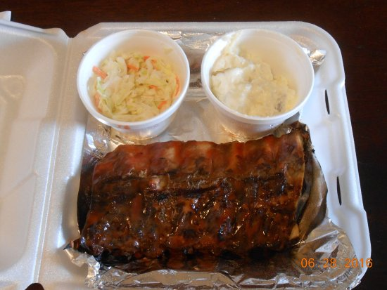 Hog Bodies: 1/2 slab of namby pamby baby back ribs, 2 sides