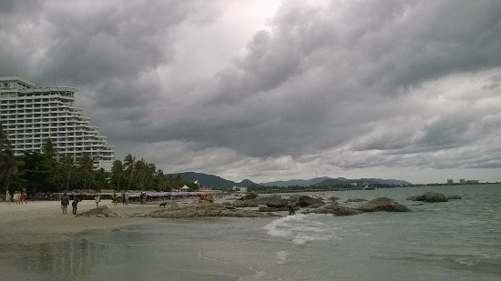 Hua Hin beach under cloudy sky