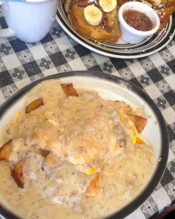 Baci Trattoria: country bubba benedict- oh my this gravy is wonderful!