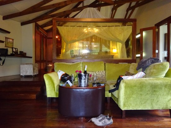 Arusha Coffee Lodge: Our room's seating area inside - lots of space to spread out.