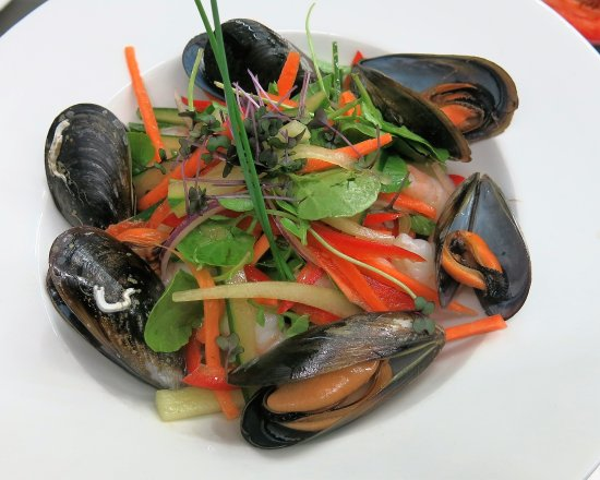 The Waterfront: Tiger prawns and mussels with vegetable julienne