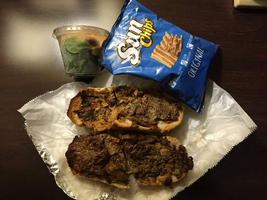 Melt: Veggie Cheese steak with hummos and chips