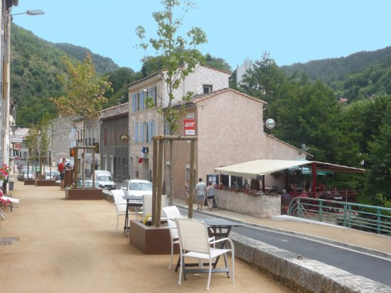 Le Central, Axat, with view of main street