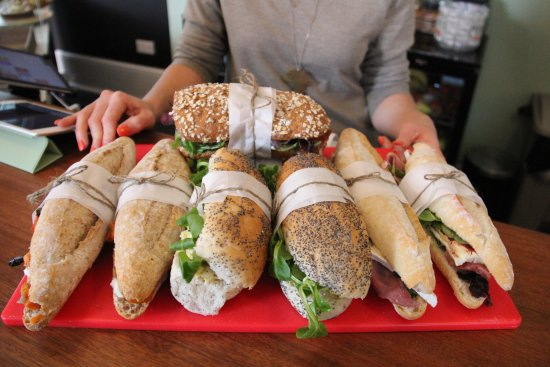 Mortehoe, UK: These are the yummy sandwiches just being placed ready for sale.