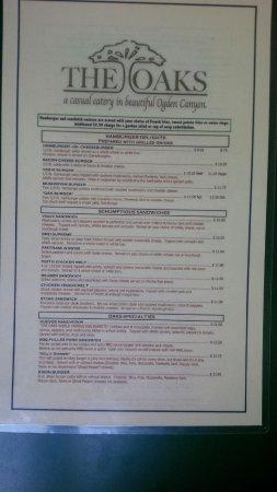 Oaks: The dinner menu pg1