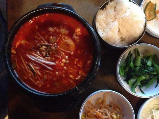 Stone Bowl: Korean Seafood Soup with sides