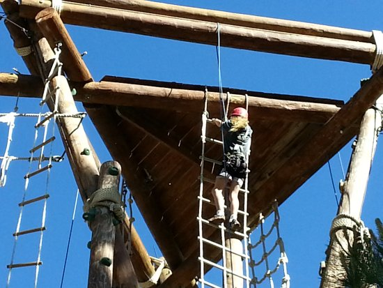 Tahoe Treetop Adventure Park: Part of the course as Squaw Valley is a climbing tower