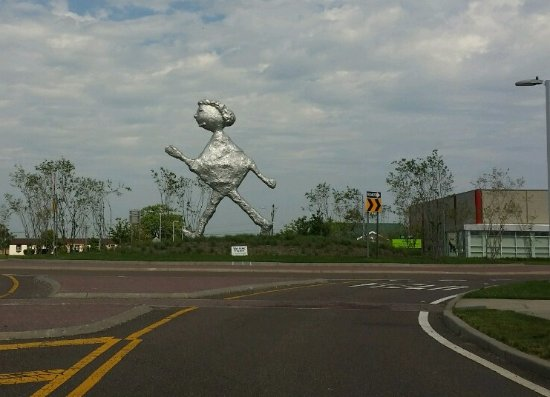 Westhampton, NY: Large aluminum sculpture in the traffic circle entering Gabreski Airport